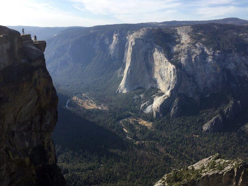 Taft Point, upper left, in California's Yosemite National Park
