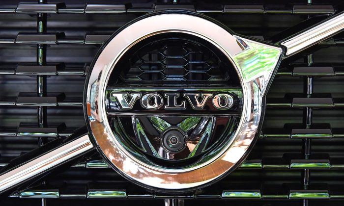 A Volvo logo is seen during an interview with CEO Hakan Samuelsson at the Volvo Cars Showroom in Stockholm, Sweden, on July 5, 2017. (TT News Agency/Jonas Ekstromer/Reuters)