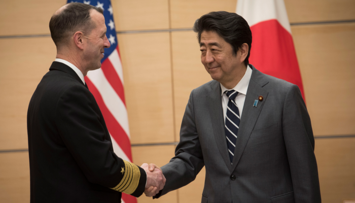 Chief of Naval Operations (CNO) Adm. John Richardson, left, met with Japanese Prime Minister Shinzo Abe to further strengthen military ties between the United States and Japan in Tokyo on Jan. 17, 2018. (MCC Elliott Fabrizio/pacom.mil)