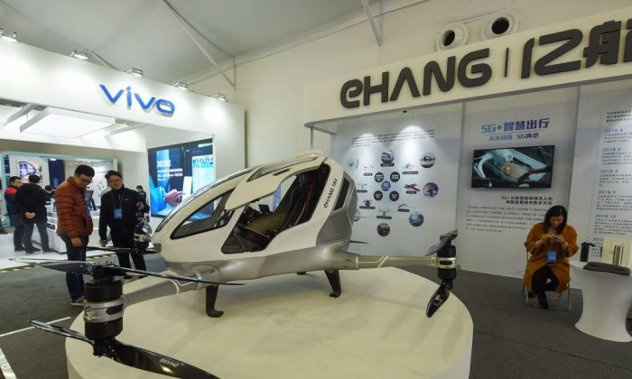 A driverless aircraft with 5G technology by EHANG is in display at a 5G innovation park in Hangzhou, a city in eastern China's Zhejiang province, on Jan. 20, 2019. (STR/AFP/Getty Images)