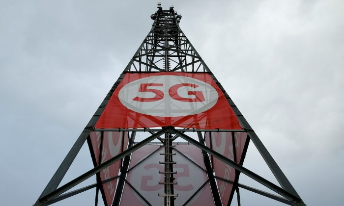 A mobile phone mast with 5G technology at the 5G Mobility Lab of telecommunications company Vodafone in Aldenhoven, Germany, on Nov. 27, 2018. (Thilo Schmuelgen/Reuters)