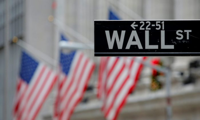 A street sign for Wall Street is seen outside the New York Stock Exchange (NYSE) in Manhattan, New York City, on Dec. 28, 2016. (Reuters/Andrew Kelly)