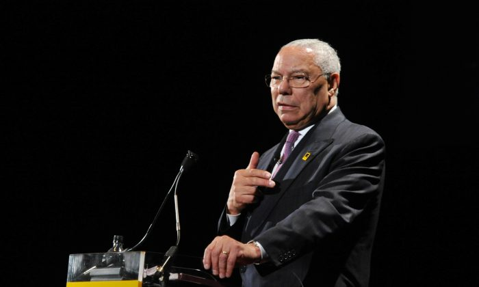 Former Secretary of State Colin Powell speaks at the International Rescue Committee's Annual Freedom Award benefit at the Waldorf Astoria Hotel in New York City on Nov. 9, 2011. (Mike Coppola/Getty Images for IRC)