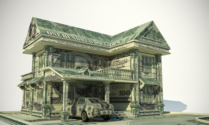 House made from United States one hundred-dollar bill. (Shutterstock)