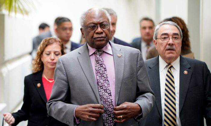 House Majority Whip James Clyburn (D-S.C.) arrives at a press briefing on Capitol Hill in Washington on Jan. 17, 2019. (Joshua Roberts/Reuters)