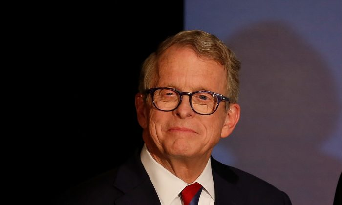 Ohio Gov. Mike DeWine during a campaign event at the Boat House at Confluence Park in Columbus, Ohio, on Nov. 2, 2018. (Kirk Irwin/Getty Images)