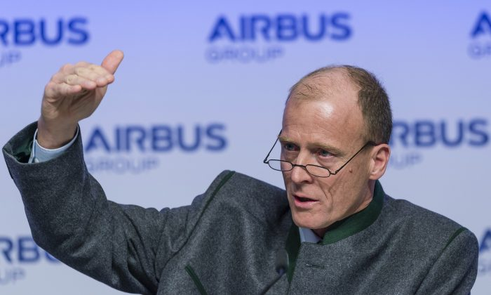 Tom Enders, chairman of European aerospace giant Airbus, gestures as he speaks during his company's annual press conference in Munich, southern Germany, on Feb. 27, 2015. (Guenter Schiffmann/AFP/Getty Images)