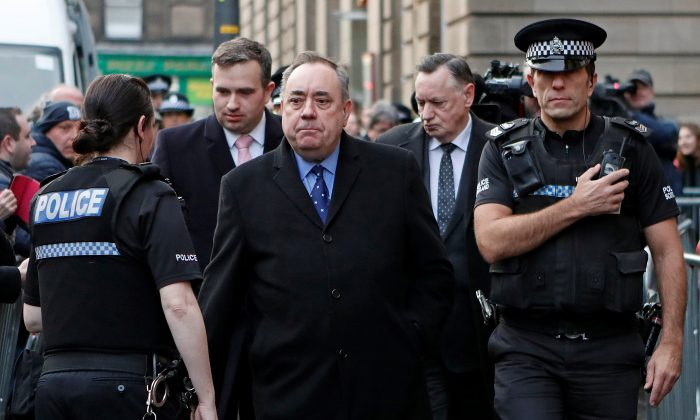 Former First Minister of Scotland Alex Salmond leaves after his court appearance in Edinburgh on Jan. 24, 2019. (Reuters/Russell Cheyne)