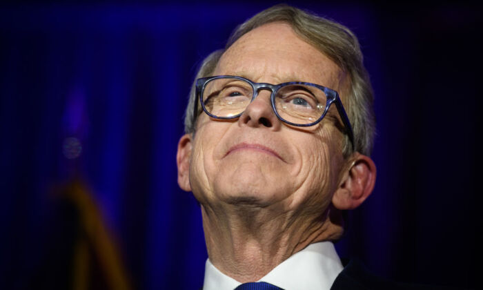 Ohio Gov. Mike DeWine gives his victory speech after winning the Ohio gubernatorial race at the Sheraton Capitol Square in Columbus, Ohio, on Nov. 6, 2018. (Justin Merriman/Getty Images)