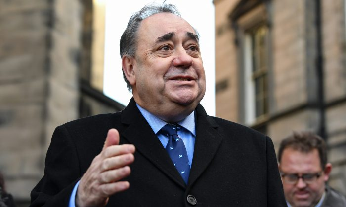 Former Scottish First Minister Alex Salmond delivers a statement in Edinburgh on Jan. 8, 2019. (Jeff J Mitchell/Getty Images)
