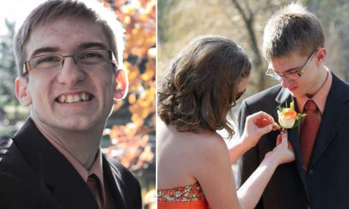 On the left, a very happy Jon Larson poses for a prom photo before he takes (right) Maddi Colbeth to the dance in his first-ever attendance. (Facebook | Mike Larson)