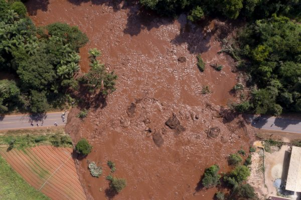 An aerial view after a dam collapsed