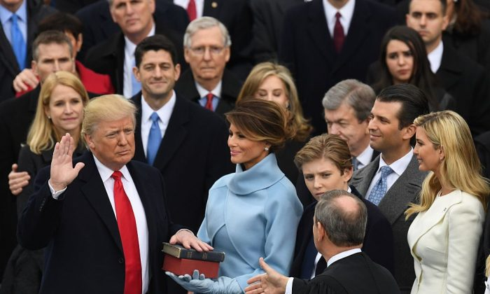 President-elect Donald Trump is sworn in as President at the US Capitol on Jan. 20, 2017. (MARK RALSTON/AFP/Getty Images)