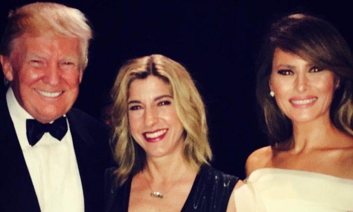 President Donald Trump, Tana Goertz, and Melania Trump at the Armed Service Inaugural Ball in Washington on Jan. 24, 2017. (Courtesy Tana Goertz)
