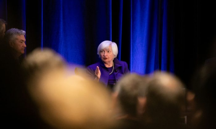 Former Chair of the Federal Reserve Janet Yellen during a panel discussion at the American Economic Association conference (Photo by Jessica McGowan/Getty Images)