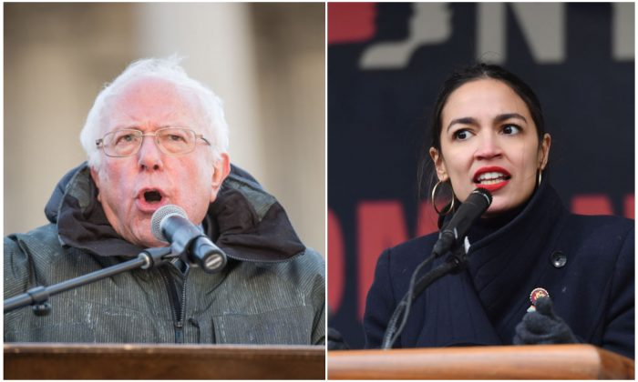 Sen. Bernie Sanders (I-VT) and Alexandria Ocasio-Cortez (D-NY). Photo by Sean Rayford/Getty Images,  Angela Weiss / AFP