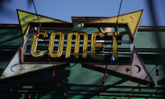 The sign of Comet Ping Pong pizzeria on Connecticut Avenue, on Dec., 5, 2016, in Washington. (Alex Wong/Getty Images)