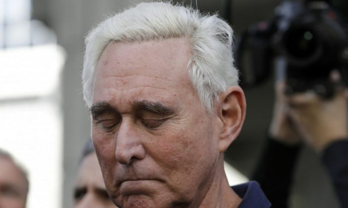 Former campaign adviser for President Donald Trump, Roger Stone walks out of the federal courthouse following a hearing in Fort Lauderdale, Florida on Jan. 25, 2019. (Lynne Sladky/AP Photo)