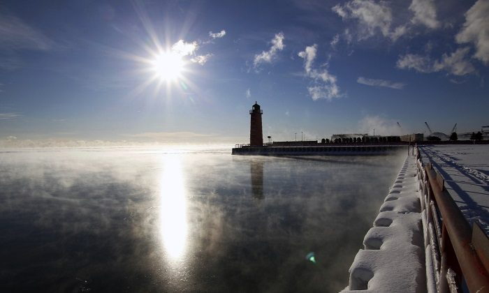 Steam rises from Lake Michigan in Milwaukee, on Jan. 25, 2019. (Carrie Antlfinger/AP Photo)