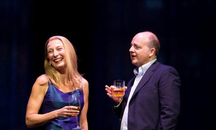 Alice (Carrie Paff) and Calvin Trillin (Jeffrey Bean) in the heartfelt biographical play based on the lives of the couple. (Henry Grossman)