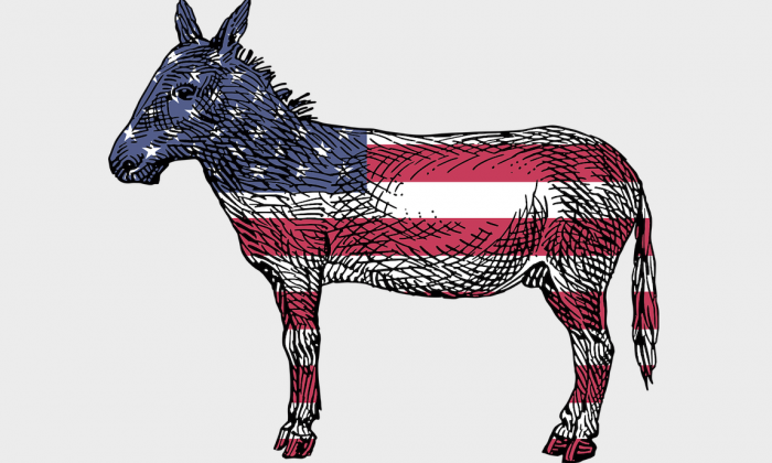 A Democratic Party donkey is shown with the American flag. (Pixabay)