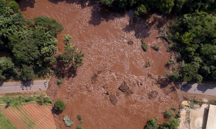 An aerial view after a dam collapsed near Brumadinho, Brazil, on Jan. 25, 2019. (Bruno Correia/Nitro via AP)