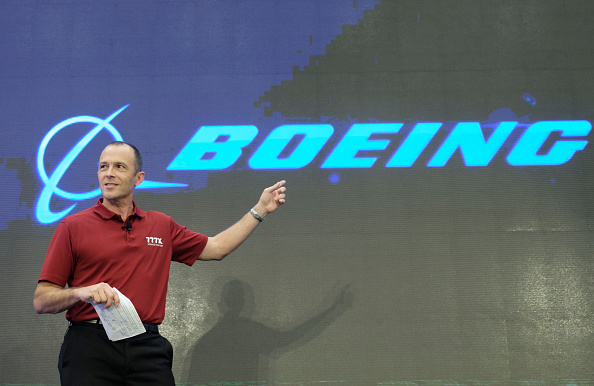 Boeing vice president of 777/777X Operations, speaks during a ceremony that began production of the first Boeing 777X jetliner in Everett, Washington ,on Oct. 23, 2017. (Stephen Brashear/Getty Images)