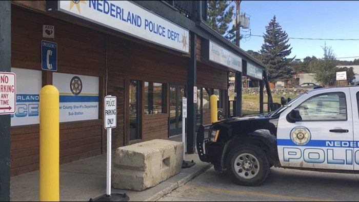 The exterior of the police station in Nederland, Colo. where David Ansberry left a homemade bomb that failed to detonate, on Jan. 25, 2019 .(Sadie Gurman/AP Photo/, File)