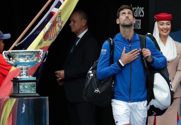 Djokovic arrives on court