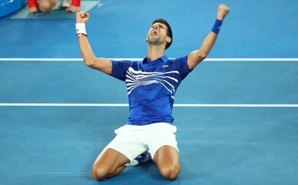 Novak Djokovic of Serbia celebrates