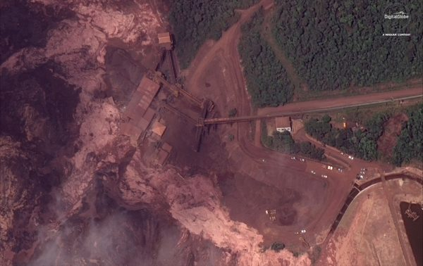 Satellite imagery from collapsed dam