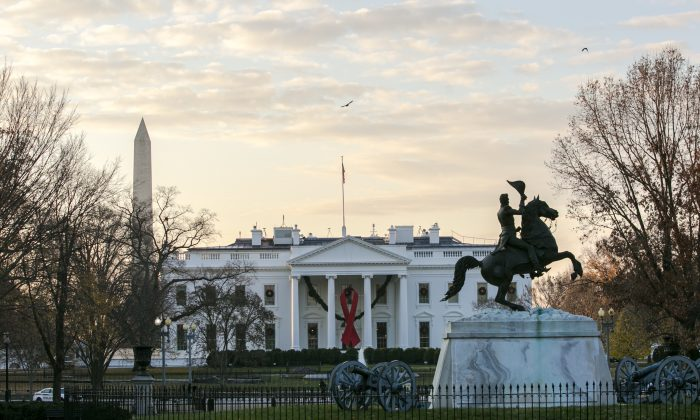 The statue of President Andrew Jackson in Lafayette Square near the White House, on the morning of Dec. 2, 2017. (Samira Bouaou/The Epoch Times)