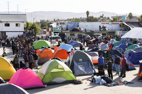 A migrant camp situated 16 kilometres from the U.S. border, fills up with Central American migrants in Tijuana, Mexico, on Dec. 2, 2018. (Charlotte Cuthbertson/The Epoch Times)