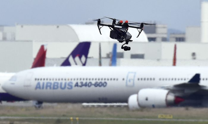 A drone flies at Toulouse-Blagnac Airport, France, on Oct. 19, 2017. (Pascal Pavani/AFP/Getty Images)