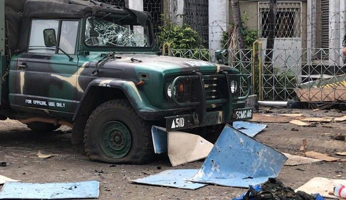 Debris lies scattered after a church bombing attack in Jolo, Sulu province, Philippines Jan. 27, 2019. Armed Forces of the Philippines. (Western Mindanao Command/Handout via Reuters)