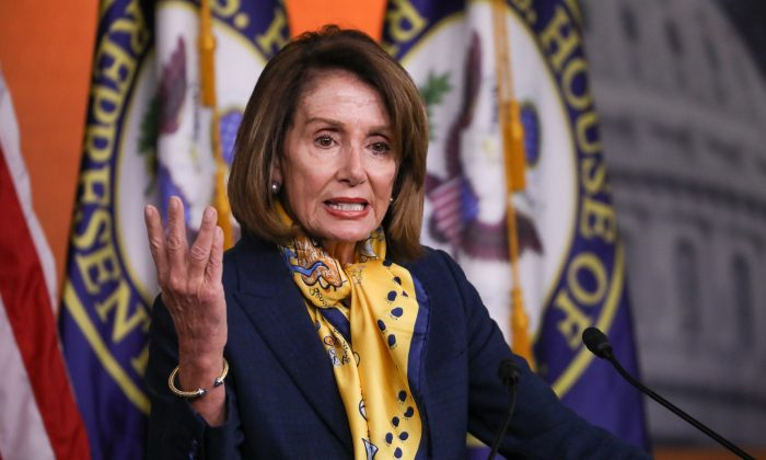 Speaker of the House Rep. Nancy Pelosi (D-Calif.) holds a press conference at the Capitol in Washington on Jan. 24, 2019. (Charlotte Cuthbertson/The Epoch Times)