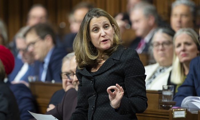 Minister of Foreign Affairs Chrystia Freeland responds to a question during Question Period in the House of Commons on Jan. 28, 2019 in Ottawa. (The Canadian Press/Adrian Wyld)