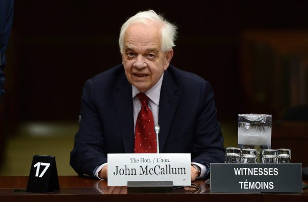 John McCallum, then Canada's ambassador to the People's Republic of China, at a meeting of the House of Commons Standing Committee on Foreign Affairs and International Development in Ottawa on May 2, 2017. (The Canadian Press/Sean Kilpatrick)