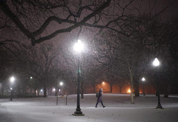 woman walks in snow