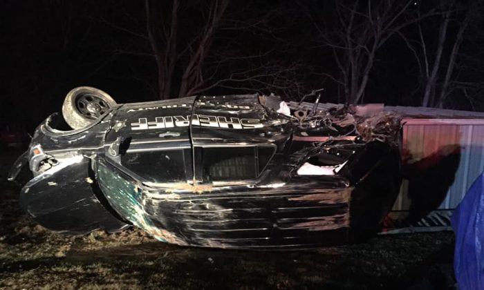 The wreck of a sheriff's vehicle, after being hit by a rock on Boyle County, on Jan. 27, 2019. (Boyle County Sheriff)