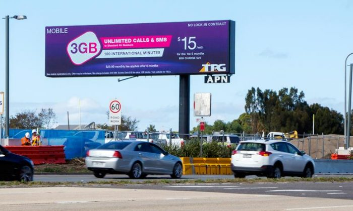 A billboard advertising TPG's mobile services on General Holmes Drive, Sydney, Australia, on May 19, 2017. (Courtesy of TPG/Facebook)