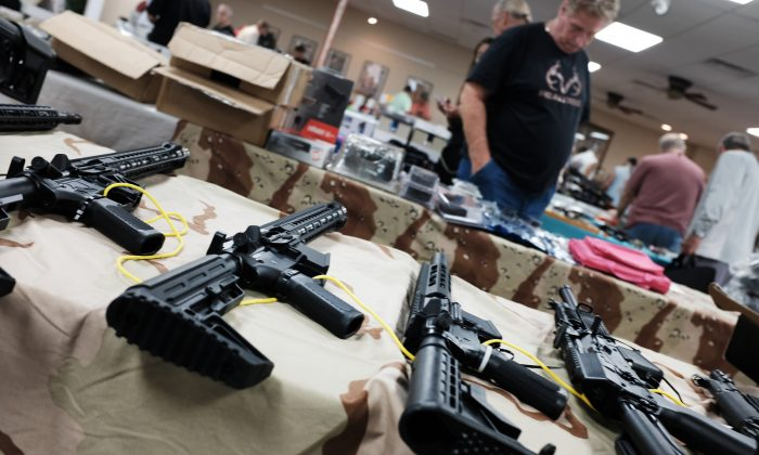 Guns for sale at a gun show in Naples, Fla., on Nov. 24, 2018. (Spencer Platt/Getty Images)
