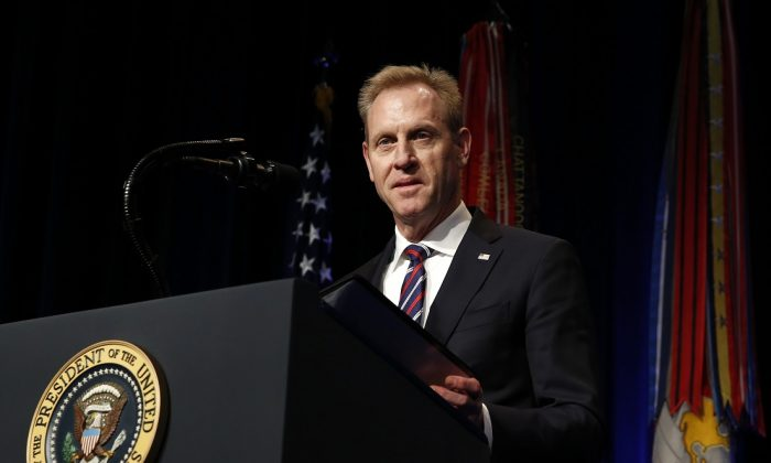 Acting Secretary of Defense Patrick Shanahan speaks during a Missile Defense Review announcement at the Pentagon, in Arlington, Virginia on Jan. 17, 2019. (Martin H. Simon - Pool/Getty Images)