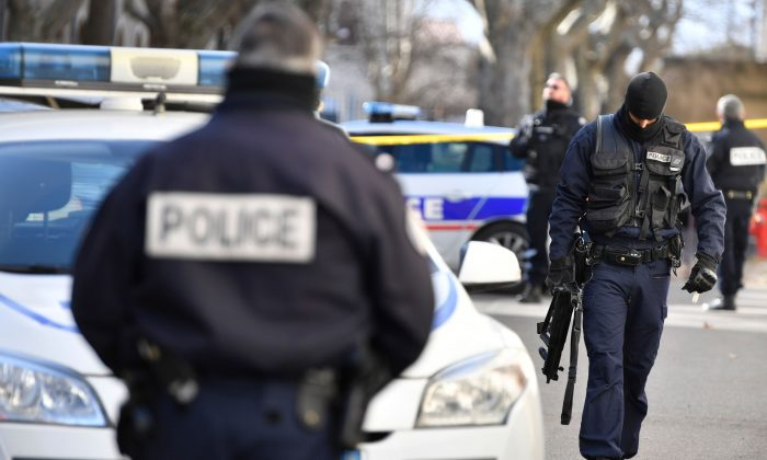 Police officers outside the courthouse in Tarascon, southern France, on Jan. 28, 2019. (Gerard Julien/AFP/Getty Images)