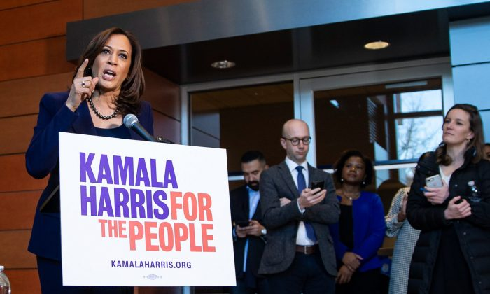Sen. Kamala Harris speaks to reporters after announcing her candidacy for President of the United States, at Howard University in Washington on Jan. 21, 2019. (Al Drago/Getty Images)