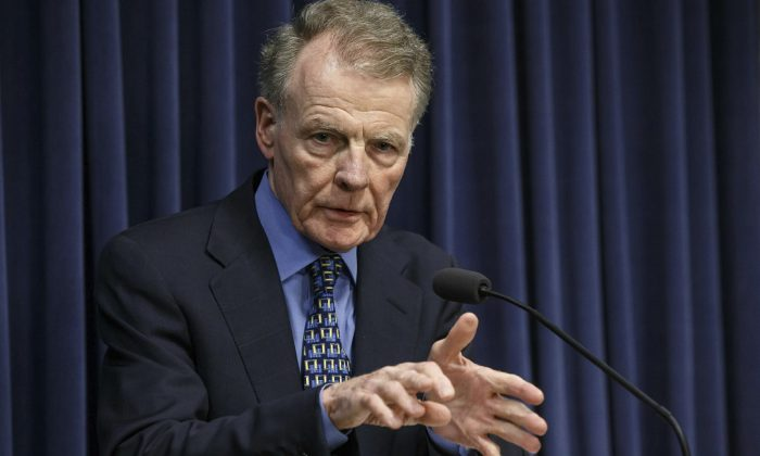 Illinois Speaker of the House Michael Madigan, D-Chicago, speaks at a news conference at the state Capitol, on July 26, 2017, in Springfield, Ill.  (Justin Fowler/The State Journal-Register via AP)