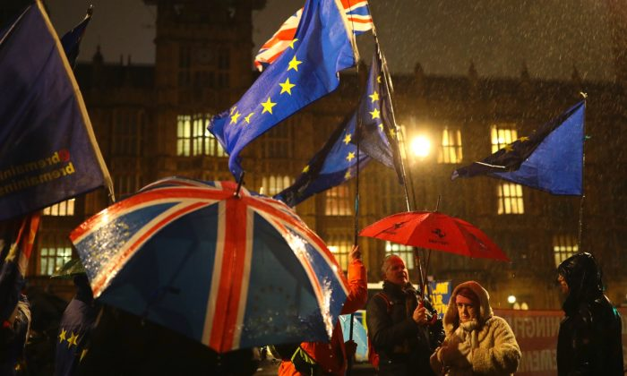 Pro-EU and pro-Brexit protesters demonstrate in the rain outside the Houses of Parliament in London on Jan. 29, 2019. (Jack Taylor/Getty Images)