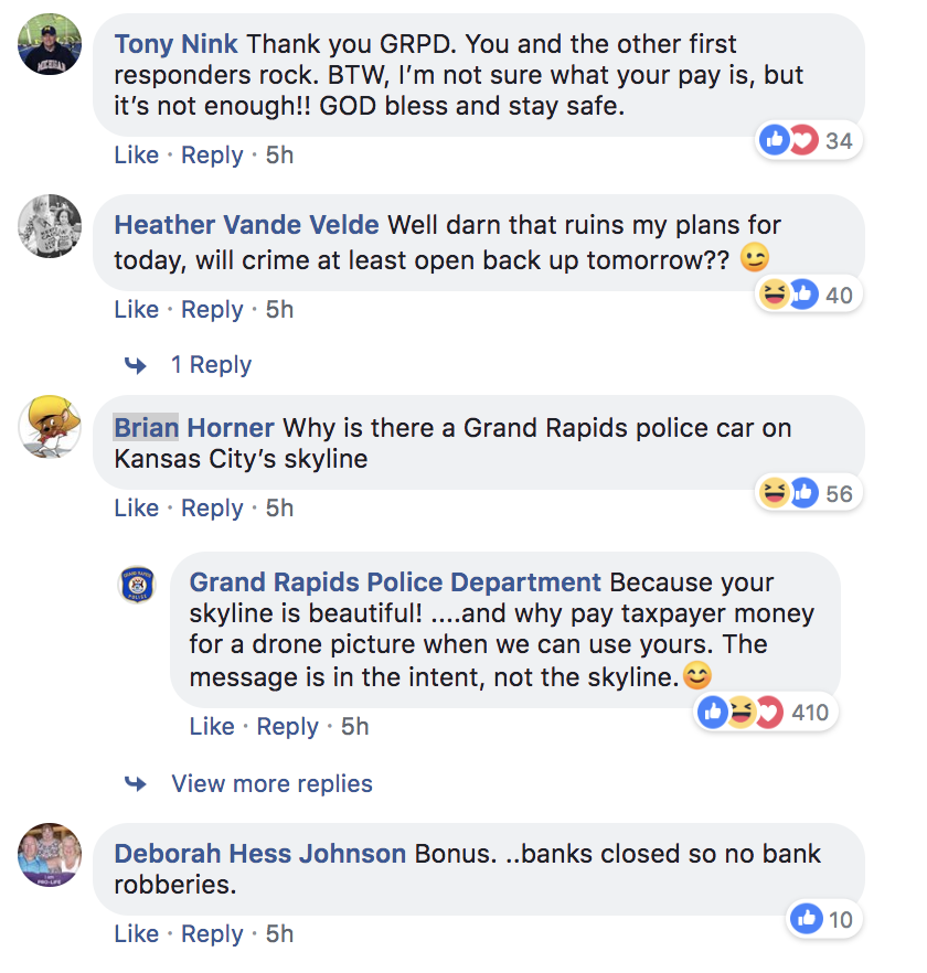 Screenshot of post's comment section.