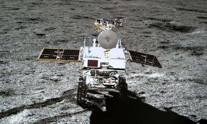 The Yutu-2 moon rover on the far side of the moon, in a picture taken by the Chang'e-4 lunar probe, released on Jan. 11, 2019.  (CNSA via CNS/AFP/Getty Images)