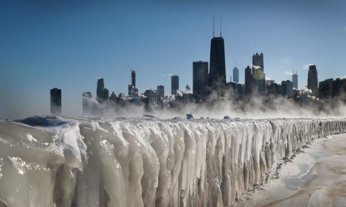 Ice covers the Lake Michigan shoreline in Chicago on Jan. 30, 2019. (Scott Olson/Getty images)